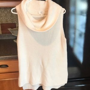Cowlneck knit sleeveless sweater